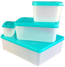 Lunch Box Set of 4 Lunch Containers Turquoise BENTOLOGY