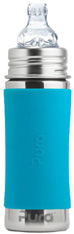 Pura Kiki Toddler Bottle (Sippy Cup) with Sleeve AQUA 11 oz.