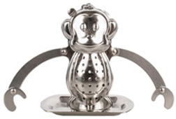 Stainless Steel Tea Infuser & Drip Tray Monkey